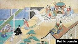 """Кагуя-химэ возвращается на Луну в """"Повести о старике Такэтори"""", японской народной сказке X века."""