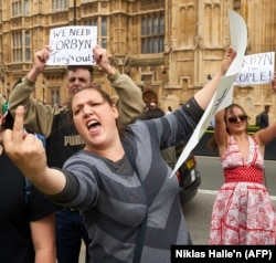 Сторонники Джереми Корбина недалеко от здания Парламента Великобритании