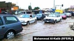 فيضان في شوارع الموصل بسبب الأمطار