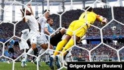 Футболдан әлем чемпионатының ширек финалында Франция және Уругвай командалары арасында өткен ойыннан көрініс. Нижний Новгород, Ресей, 6 шілде 2018 жыл.
