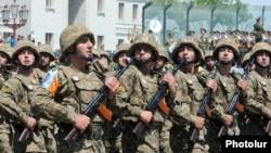 Nagorno-Karabakh - Karabakh Armenian soldiers march in a military parade in Stepanakert, 9May2012.