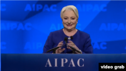 Romanian Prime Minister Viorica Dancila speaks at the AIPAC conference on March 24.
