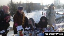"Activists set up a ""toy demonstration"" in Barnaul on January 14."