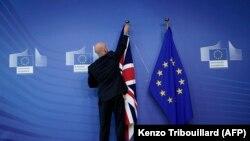 Zastava Velike Britanije i EU, Brisel