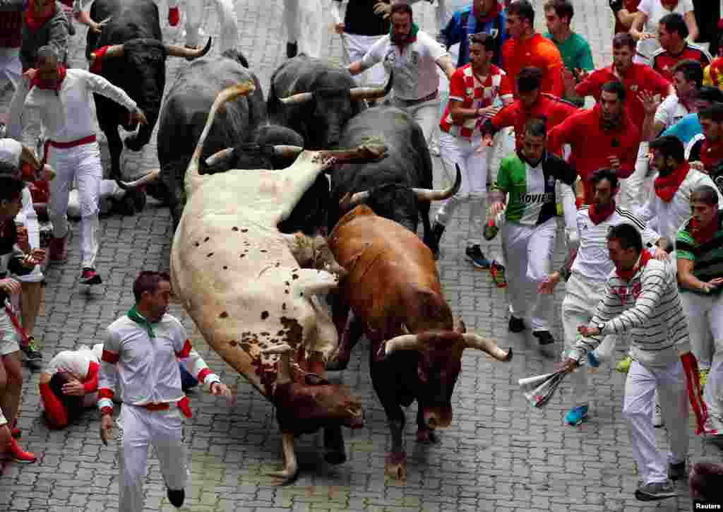 The last running of the bulls at the San Fermin festival in Pamplona, northern Spain, on July 14. (Reuters/Susana Vera)