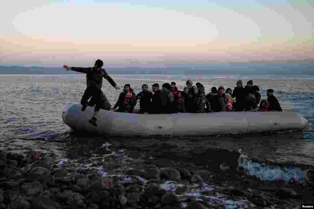 Migrants from Afghanistan arrive on the Greek island of Lesbos on March 2.