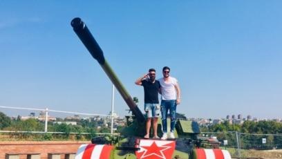 Serbia-- Tank in front of Rajko Mitic Stadium in Belgrade, 27 August 2019.