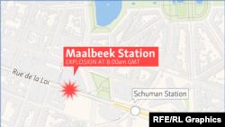 Место взрыва в брюссельском метро