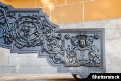Герб гетьмана Івана Мазепи на лафеті його гармати на території московського Кремля