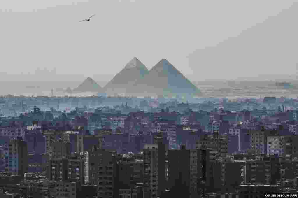 A view of the Pyramids of Giza on the southwestern outskirts of the Egyptian capital, Cairo, on February 28. (AFP/Khaled Desouki)