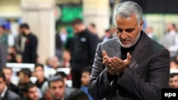 The commander of Iran's Quds Force, Major General Qassem Soleimani, prays during a religious ceremony in Tehran in March.