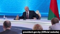 Аляксандар Лукашэнка падчас прэс-канферэнцыі