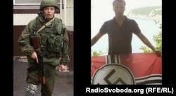 Командир бригади бойовиків з угруповання «ЛНР» «Русич» Олексій Мільчаков тримає прапор з нацистським символом
