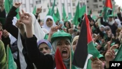Palestine -- Hamas supporters attend a rally to mark the 22nd anniversary of the Islamist movement's founding, Gaza City, 14Dec2009