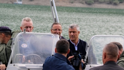 President of Kosovo Hashim Thaci during the visit to Gazivode hydroplant