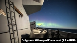 Northern lights are seen from KNM Helge Ingstad during Trident Juncture exercise in Norway on October 30.