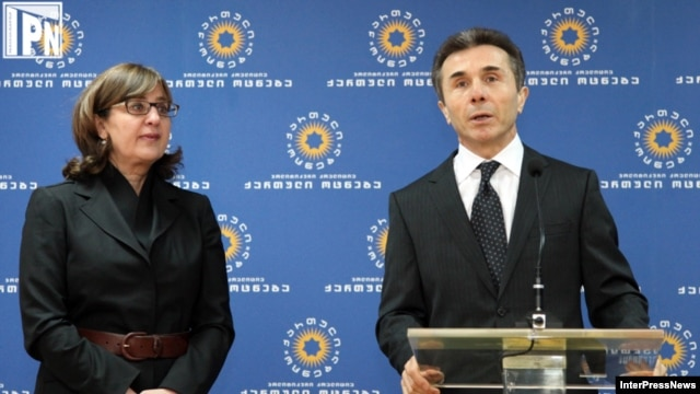 Incoming Foreign Minister Maia Panjikidze (left) with Georgian Dream leader Bidzina Ivanishvili at a Tbilisi press conference earlier this year.