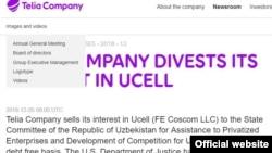 Telia Company Uсell ширкатини Ўзбекистонга сотгани тўғрисидаги расмий маълумот.