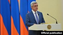 Armenia - President Serzh Sarkisian delivers a speech in Yerevan, 1Aug2016.