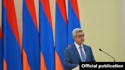 "Armenian President Serzh Sarkisian offers ""national accord"" government excluding ""terrorists"" after standoff with opposition gunmen."