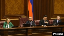 Armenia -- Speaker Ararat Mirzoyan chairs a parliament debate on constitutional changes, Yerevan, February 6, 2020.
