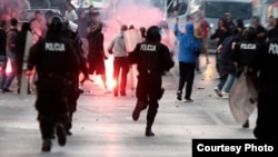 Fans of Sarajevo's Zeljeznicar clash with fans of Croatia's Hajduk Split clash on October 6.