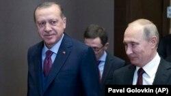 Реджеп Эрдоган и Владимир Путин в резиденции Бочаров Ручей, 13 ноября 2017 года.
