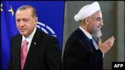 Recep Tayyip Erdogan (solda) və Hassan Rohani