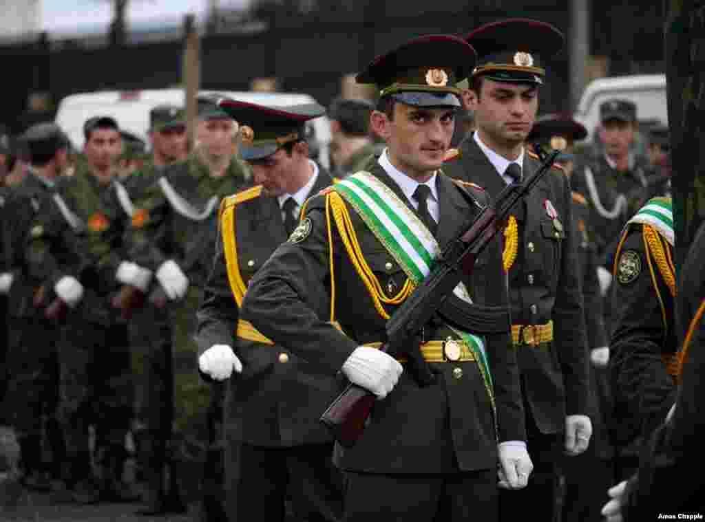 Alkhaz Kurkunava, a sergeant in the Abkhazian army, takes part in a parade celebrating 21 years of de facto independence from Georgia.