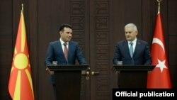 Заедничката прес конференција на премиерот Зоран Заев со премиерот на Турција, Бинали Јилдирим.