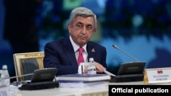 Kazakhstan - Armenian President Serzh Sarkisian addresses the Supreme Eurasian Economic Council's meeting in Astana,29May,2014
