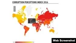 """""""Transparency International"""" guramasynyň 2016-njy ýyl boýunça """"Korrupsiýany görkeziji indeksi"""" atly hasabaty"""