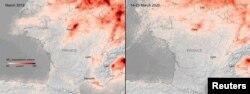 Европанын космостук агенттигинин спутнигинен алынган бул сүрөттөн Батыш Европада аба канчалык тазарганын салыштырып көрсө болот.