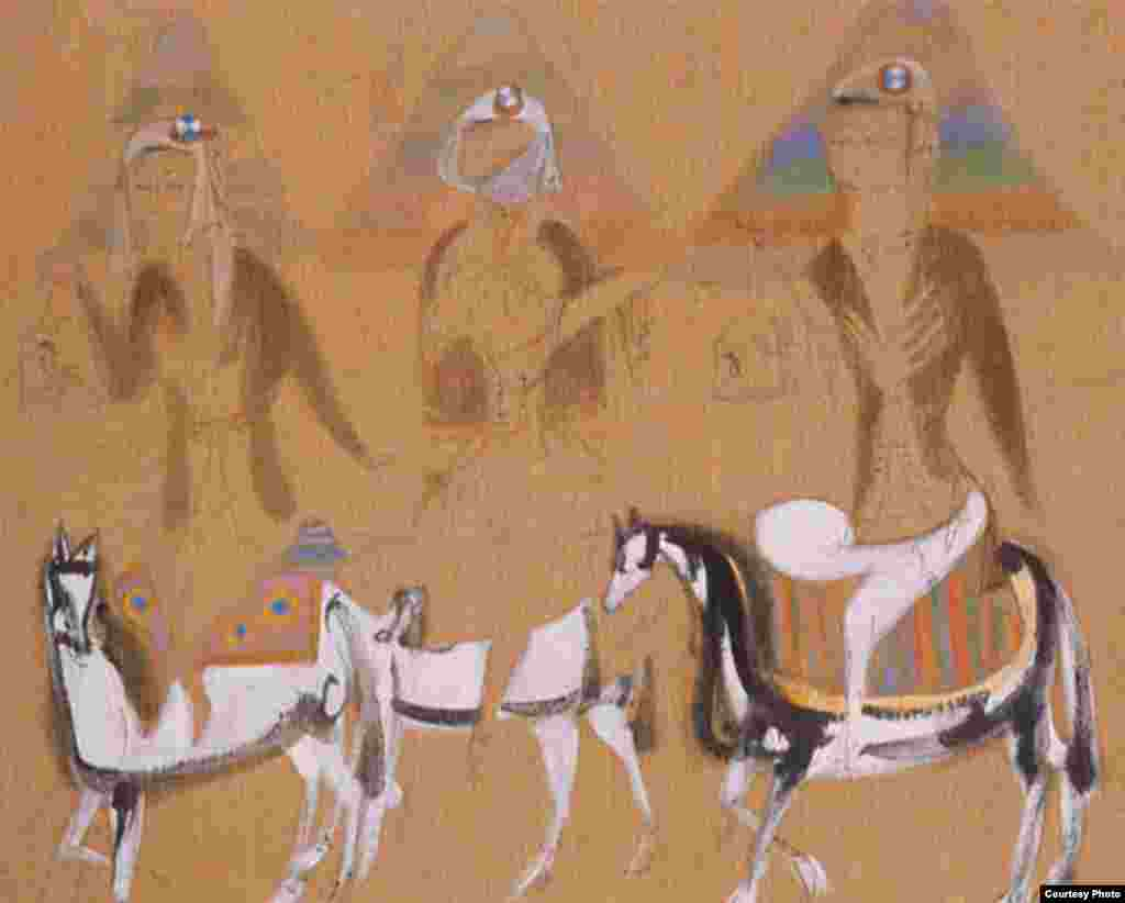 """Horsewoman from Turfan"" (oil on canvas)"