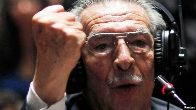 Former Guatemalan leader Efrain Rios Montt gestures as he speaks at his genocide trial in Guatemala City in early May.