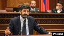 Armenia -- Vahe Grigorian, a nominee to the Constitutional Court, speaks in the parliament, Yerevan, June 18, 2019.