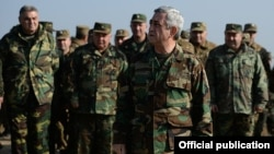 Nagorno-Karabakh - Armenian President Serzh Sarkisian monitors military exercises, 14Nov2014.