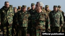 Nagorno-Karabakh - Armenian President Serzh Sarkisian monitors military exercises, 14Nov2014.