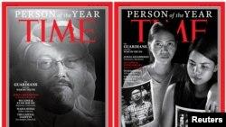 Обложки Time с «Персонами года»: Джамалем Хашогги (Хашкаджи) и осуждёнными в Мьянме журналистами Ва Лоуном и Киав Со Оо (на фотографиях в руках их жен).