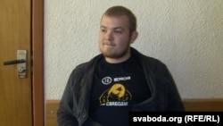 "Paval Vinahradau during his trial in Minsk in April over the ""toy protest"" two months earlier"