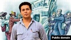 Баннер #FreeOrken в сети Facebook с требованием выпустить из-под ареста репортёра Азаттыка в Астане Оркена Бисенова.