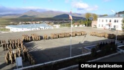 Armenia - Soldiers are lined up at an Armenian military base, 21Oct2014.