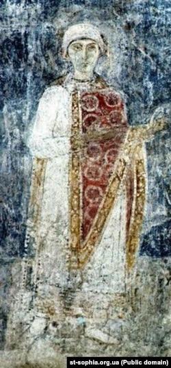 Зображення доньки Київського князя Ярослава Мудрого Анни Ярославни на фресці в Софійському соборі в Києві. Анна Ярославна (Анна Київська) була королевою Франції у період 1051–1060 років