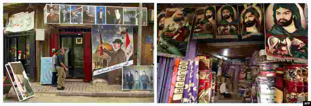 Left: Men walk past posters of Iraqi President Saddam Hussein outside a billboard factory on October 17, 2002. Right: A man prays in his shop selling carpets depicting Imam Hussein, revered by Shi'ite Muslims, on February 2, 2013, on Baghdad's Rashid Street.