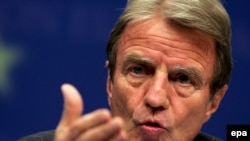 French Foreign Minister Bernard Kouchner following the EU foreign ministers meeting on September 15