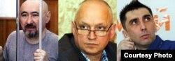 Заключенные гражданские активисты Арон Атабек, Владимир Козлов, Вадим Курамшин. Фотоколлаж.