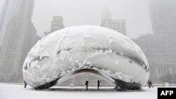 Spomenik pod snijegom, Chicago, fotoarhiv
