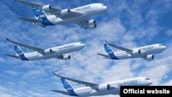Иран сатып алатын Airbus ұшақтарының модельдері (Көрнекі сурет).