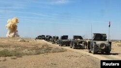 نیروهای عراقی در حال حرکت به جبهه نبرد با «حکومت اسلامی»