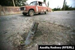 Поврежденная дорога в азербайджанском городе Тертер.